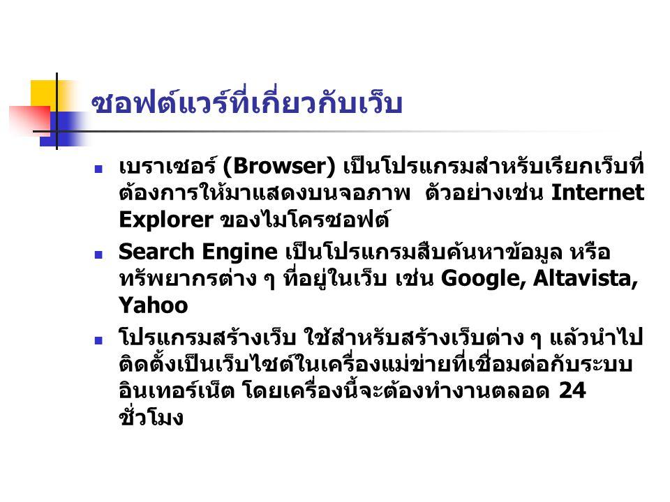 ซอฟต์แวร์ที่เกี่ยวกับเว็บ เบราเซอร์ (Browser) เป็นโปรแกรมสำหรับเรียกเว็บที่ ต้องการให้มาแสดงบนจอภาพ ตัวอย่างเช่น Internet Explorer ของไมโครซอฟต์ Search Engine เป็นโปรแกรมสืบค้นหาข้อมูล หรือ ทรัพยากรต่าง ๆ ที่อยู่ในเว็บ เช่น Google, Altavista, Yahoo โปรแกรมสร้างเว็บ ใช้สำหรับสร้างเว็บต่าง ๆ แล้วนำไป ติดตั้งเป็นเว็บไซต์ในเครื่องแม่ข่ายที่เชื่อมต่อกับระบบ อินเทอร์เน็ต โดยเครื่องนี้จะต้องทำงานตลอด 24 ชั่วโมง