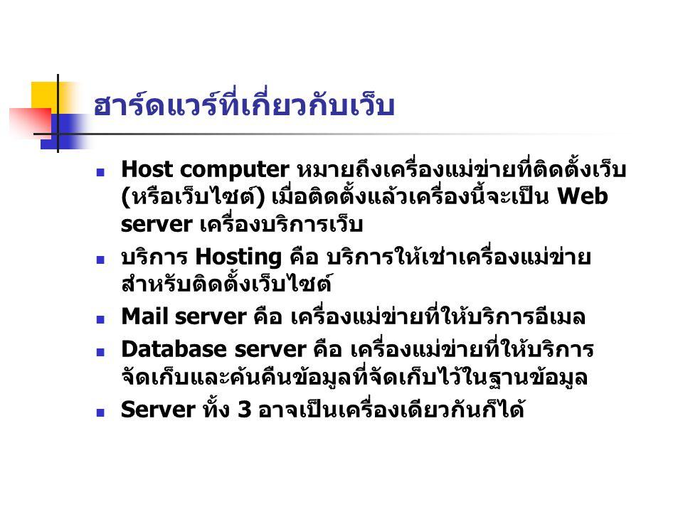 ฮาร์ดแวร์ที่เกี่ยวกับเว็บ Host computer หมายถึงเครื่องแม่ข่ายที่ติดตั้งเว็บ (หรือเว็บไซต์) เมื่อติดตั้งแล้วเครื่องนี้จะเป็น Web server เครื่องบริการเว็บ บริการ Hosting คือ บริการให้เช่าเครื่องแม่ข่าย สำหรับติดตั้งเว็บไซต์ Mail server คือ เครื่องแม่ข่ายที่ให้บริการอีเมล Database server คือ เครื่องแม่ข่ายที่ให้บริการ จัดเก็บและค้นคืนข้อมูลที่จัดเก็บไว้ในฐานข้อมูล Server ทั้ง 3 อาจเป็นเครื่องเดียวกันก็ได้