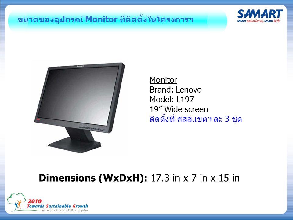 """ขนาดของอุปกรณ์ Monitor ที่ติดตั้งในโครงการฯ Monitor Brand: Lenovo Model: L197 19"""" Wide screen ติดตั้งที่ ศสส.เขตฯ ละ 3 ชุด Dimensions (WxDxH): 17.3 in"""