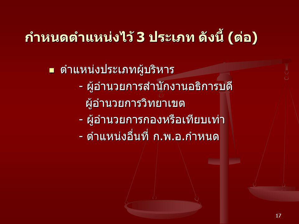 17 กำหนดตำแหน่งไว้ 3 ประเภท ดังนี้ ( ต่อ ) ตำแหน่งประเภทผู้บริหาร ตำแหน่งประเภทผู้บริหาร - ผู้อำนวยการสำนักงานอธิการบดี ผู้อำนวยการวิทยาเขต ผู้อำนวยกา