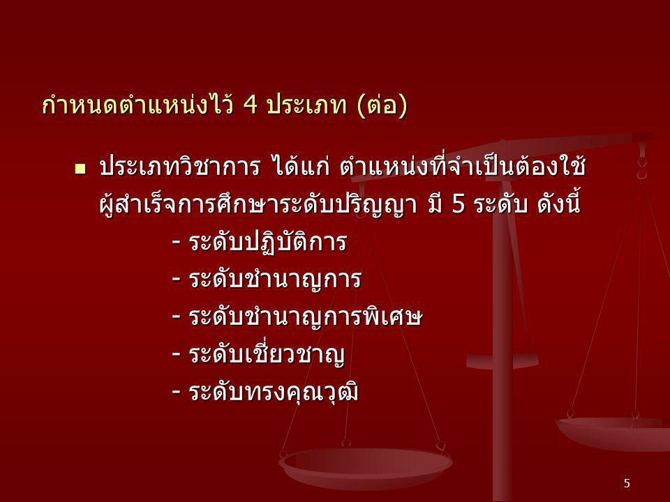 6 กำหนดตำแหน่งไว้ 4 ประเภท ( ต่อ ) ประเภททั่วไป ได้แก่ ตำแหน่งที่ไม่ใช่ประเภทบริหาร ประเภททั่วไป ได้แก่ ตำแหน่งที่ไม่ใช่ประเภทบริหาร ประเภทอำนวยการ ประเภทวิชาการ มี 4 ระดับ ดังนี้ ประเภทอำนวยการ ประเภทวิชาการ มี 4 ระดับ ดังนี้ - ระดับปฏิบัติงาน - ระดับปฏิบัติงาน - ระดับชำนาญงาน - ระดับชำนาญงาน - ระดับอาวุโส - ระดับอาวุโส - ระดับทักษะพิเศษ - ระดับทักษะพิเศษ