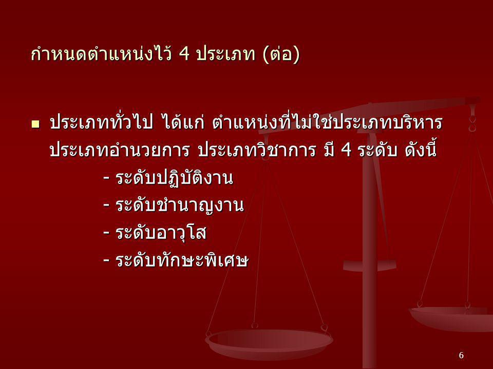 6 กำหนดตำแหน่งไว้ 4 ประเภท ( ต่อ ) ประเภททั่วไป ได้แก่ ตำแหน่งที่ไม่ใช่ประเภทบริหาร ประเภททั่วไป ได้แก่ ตำแหน่งที่ไม่ใช่ประเภทบริหาร ประเภทอำนวยการ ปร