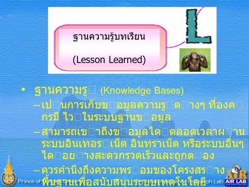 17 ฐานความรู้บทเรียน (Lesson Learned) ฐานความรู (Knowledge Bases) – เปนการเก็บขอมูลความรูตางๆ ที่องค กรมี ไวในระบบฐานขอมูล – สามารถเขาถึงขอมูลไดตลอดเวลาผาน ระบบอินเทอรเน็ต อินทราเน็ต หรือระบบอื่นๆ ไดอยางสะดวกรวดเร็วและถูกตอง – ควรคํานึงถึงความพรอมของโครงสราง พื้นฐานเพื่อสนับสนุนระบบเทคโนโลยี สารสนเทศดวย