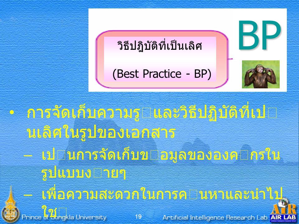 19 วิธีปฎิบัติที่เป็นเลิศ (Best Practice - BP)BP การจัดเก็บความรูและวิธีปฏิบัติที่เป นเลิศในรูปของเอกสาร – เปนการจัดเก็บขอมูลขององคกรใน รูปแบบงายๆ – เพื่อความสะดวกในการคนหาและนําไป ใช – จัดทําฐานความรูของวิธีปฏิบัติที่เป นเลิศ อาจไดจากการทําการเทียบเคียง (Benchmarking)