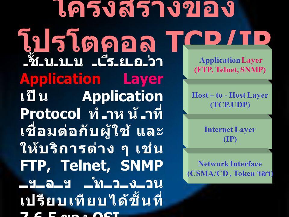 ชั้นถัดมา เรียกว่า Host-to-Host Layer จะเป็น TCP หรือ UDP ทำ หน้าที่คล้ายกับ Layer ที่ 4 ของ OSI Model คือ ควบคุมการรับ - ส่ง ข้อมูลจากปลายด้านส่ง ถึงปลายด้านรับข้อมูล และตัดข้อมูลออกเป็น ส่วนย่อยให้เหมาะกับ เครือข่ายที่ใช้รับส่ง ข้อมูล รวมทั้งประกอบข้อมูล ส่วนย่อย ๆ นี้เข้า ด้วยกันเมื่อถึง ปลายทาง โครงสร้างของ โปรโตคอล TCP/IP Application Layer (FTP, Telnet, SNMP) Host – to - Host Layer (TCP,UDP) Internet Layer (IP) Network Interface (CSMA/CD, Token ฯลฯ )
