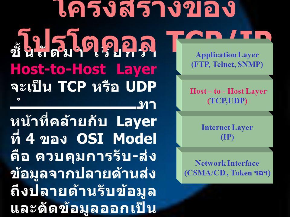 ชั้นถัดมา เรียกว่า Host-to-Host Layer จะเป็น TCP หรือ UDP ทำ หน้าที่คล้ายกับ Layer ที่ 4 ของ OSI Model คือ ควบคุมการรับ - ส่ง ข้อมูลจากปลายด้านส่ง ถึง