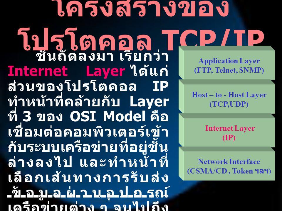 ชั้นสุดท้ายที่อยู่ล่างสุด เรียกว่า Network Interface คือ ชั้นที่ ควบคุมฮาร์ดแวร์การ รับส่งข้อมูลผ่านเครือข่าย ซึ่งเทียบได้กับ Layer ที่ 1 และ 2 ของ OSI Model โครงสร้างของ โปรโตคอล TCP/IP Application Layer (FTP, Telnet, SNMP) Host – to - Host Layer (TCP,UDP) Internetwork Layer (IP) Network Interface (CSMA/CD, Token ฯลฯ )