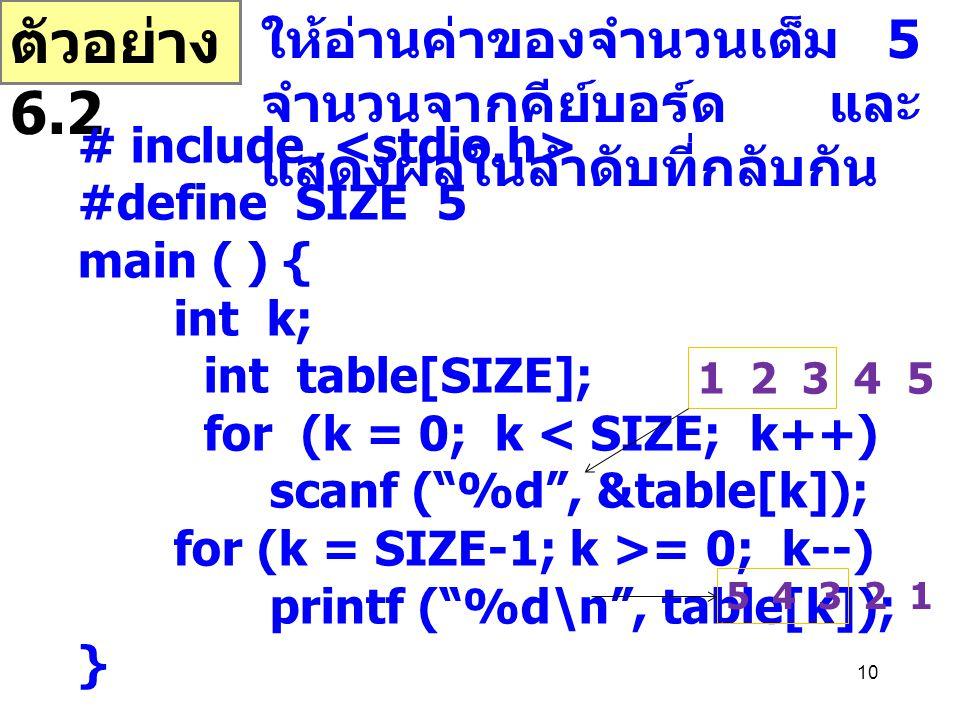 10 ตัวอย่าง 6.2 ให้อ่านค่าของจำนวนเต็ม 5 จำนวนจากคีย์บอร์ด และ แสดงผลในลำดับที่กลับกัน # include #define SIZE 5 main ( ) { int k; int table[SIZE]; for (k = 0; k < SIZE; k++) scanf ( %d , &table[k]); for (k = SIZE-1; k >= 0; k--) printf ( %d\n , table[k]); } 1 2 3 4 5 5 4 3 2 1