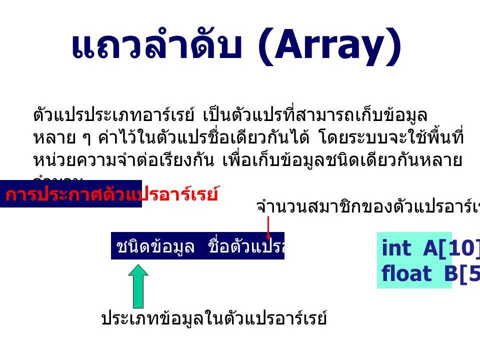 แถวลำดับ (Array) ตัวแปรประเภทอาร์เรย์ เป็นตัวแปรที่สามารถเก็บข้อมูล หลาย ๆ ค่าไว้ในตัวแปรชื่อเดียวกันได้ โดยระบบจะใช้พื้นที่ หน่วยความจำต่อเรียงกัน เพื่อเก็บข้อมูลชนิดเดียวกันหลาย จำนวน การประกาศตัวแปรอาร์เรย์ ชนิดข้อมูล ชื่อตัวแปรอาร์เรย์ [n]; ประเภทข้อมูลในตัวแปรอาร์เรย์ จำนวนสมาชิกของตัวแปรอาร์เรย์ int A[10]; float B[5];