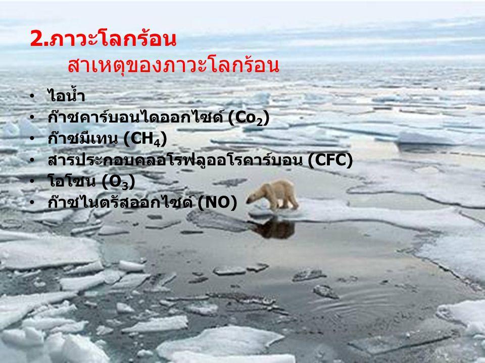 ภาควิชาพัฒนาการเกษตร คณะทรัพยากรธรรมชาติ 2.ภาวะโลกร้อน สาเหตุของภาวะโลกร้อน ไอน้ำ ก๊าซคาร์บอนไดออกไซด์ (Co 2 ) ก๊าซมีเทน (CH 4 ) สารประกอบคลอโรฟลูออโรคาร์บอน (CFC) โอโซน (O 3 ) ก๊าซไนตรัสออกไซด์ (NO)