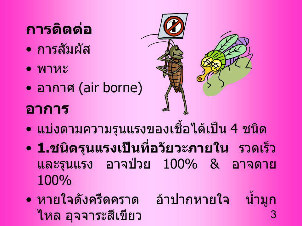 3 การติดต่อ การสัมผัส พาหะ อากาศ (air borne) อาการ แบ่งตามความรุนแรงของเชื้อได้เป็น 4 ชนิด 1. ชนิดรุนแรงเป็นที่อวัยวะภายใน รวดเร็ว และรุนแรง อาจป่วย 1