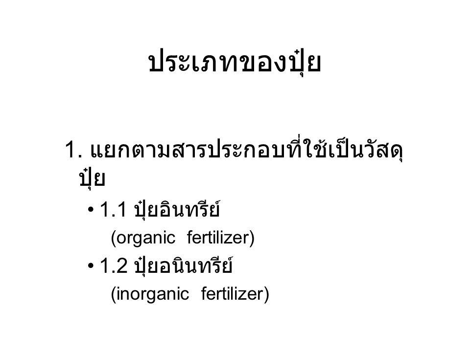 ประเภทของปุ๋ย 1. แยกตามสารประกอบที่ใช้เป็นวัสดุ ปุ๋ย 1.1 ปุ๋ยอินทรีย์ (organic fertilizer) 1.2 ปุ๋ยอนินทรีย์ (inorganic fertilizer)