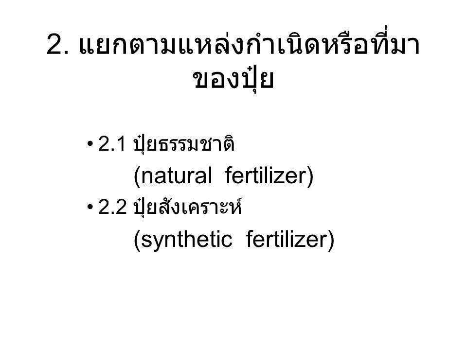 2. แยกตามแหล่งกำเนิดหรือที่มา ของปุ๋ย 2.1 ปุ๋ยธรรมชาติ (natural fertilizer) 2.2 ปุ๋ยสังเคราะห์ (synthetic fertilizer)