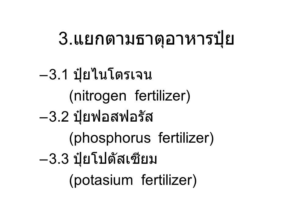 3. แยกตามธาตุอาหารปุ๋ย –3.1 ปุ๋ยไนโตรเจน (nitrogen fertilizer) –3.2 ปุ๋ยฟอสฟอรัส (phosphorus fertilizer) –3.3 ปุ๋ยโปตัสเซียม (potasium fertilizer)