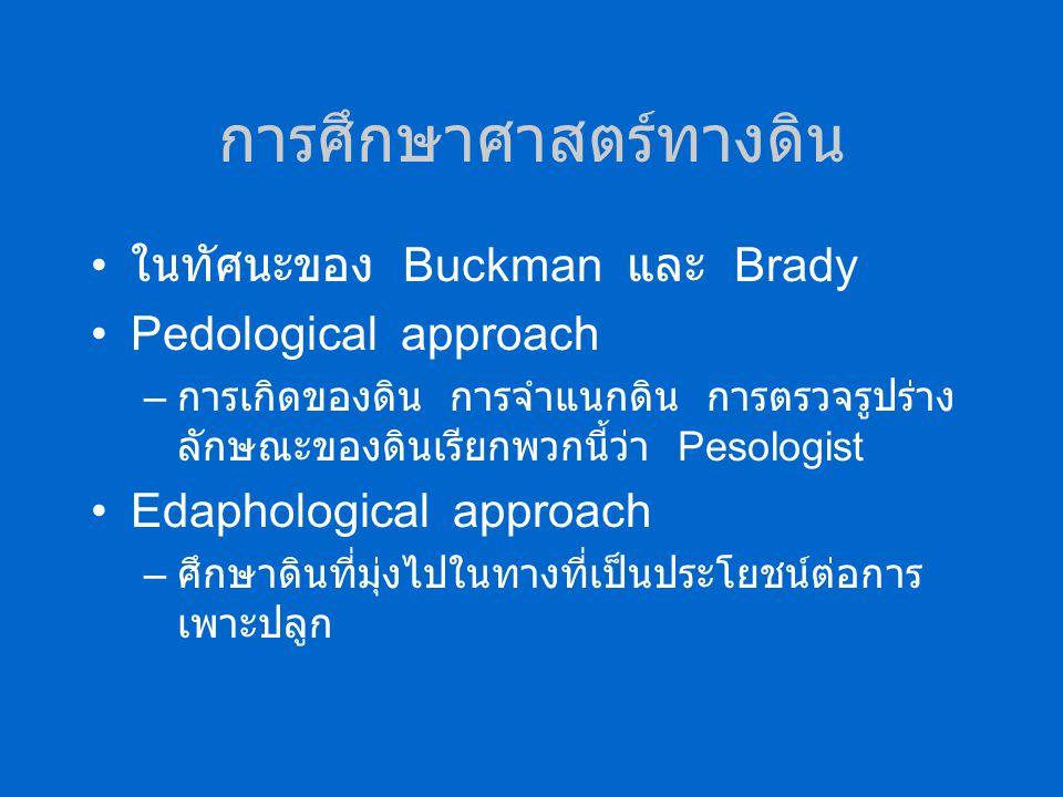 การศึกษาศาสตร์ทางดิน ในทัศนะของ Buckman และ Brady Pedological approach – การเกิดของดิน การจำแนกดิน การตรวจรูปร่าง ลักษณะของดินเรียกพวกนี้ว่า Pesologist Edaphological approach – ศึกษาดินที่มุ่งไปในทางที่เป็นประโยชน์ต่อการ เพาะปลูก