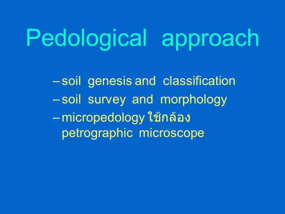 การศึกษาศาสตร์ทางดิน ในทัศนะของ Buckman และ Brady Pedological approach – การเกิดของดิน การจำแนกดิน การตรวจรูปร่าง ลักษณะของดินเรียกพวกนี้ว่า Pesologis