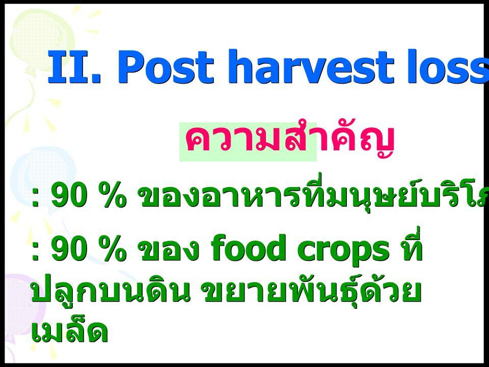 : 90 % ของอาหารที่มนุษย์บริโภคมาจากธัญพืช ความสำคัญ : 90 % ของ food crops ที่ ปลูกบนดิน ขยายพันธุ์ด้วย เมล็ด II. Post harvest loss of cereal crop
