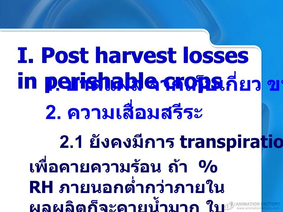 I. Post harvest losses in perishable crops 2. ความเสื่อมสรีระ 1. บาดแผล จากเก็บเกี่ยว ขนส่ง เพื่อคายความร้อน ถ้า % RH ภายนอกต่ำกว่าภายใน ผลผลิตก็จะคาย