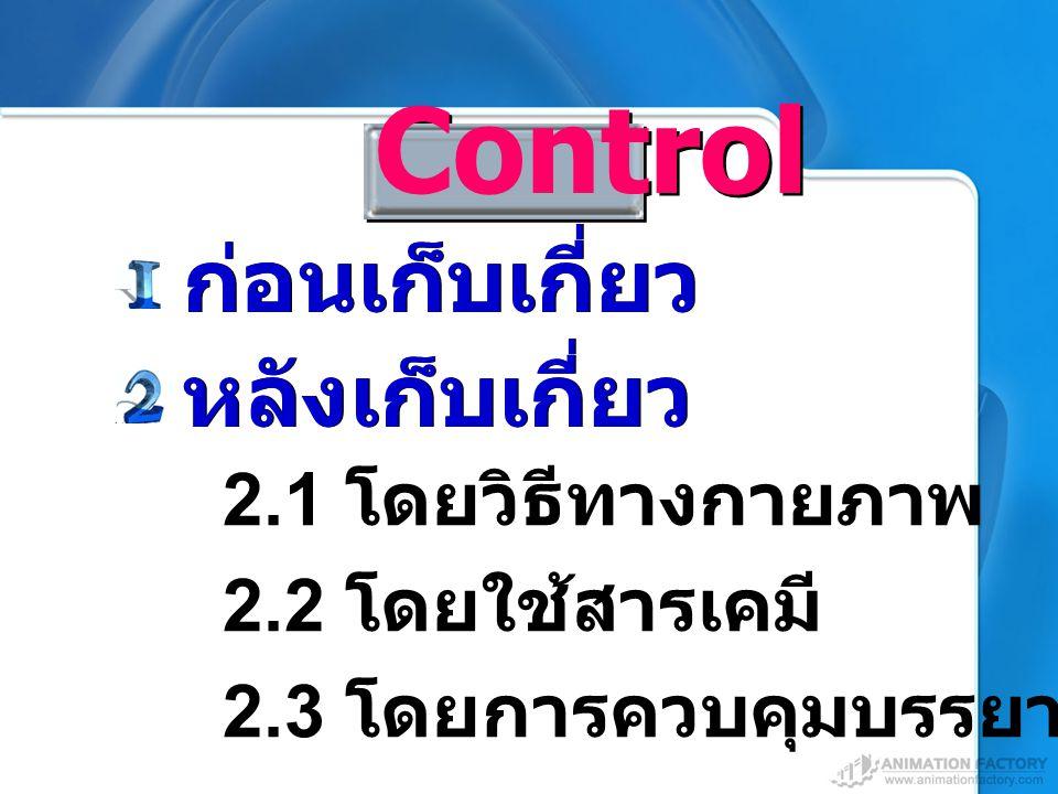 Control ก่อนเก็บเกี่ยว หลังเก็บเกี่ยว 2.1 โดยวิธีทางกายภาพ 2.2 โดยใช้สารเคมี 2.3 โดยการควบคุมบรรยากาศ