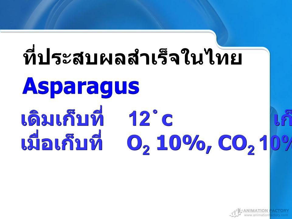 เดิมเก็บที่ 12  c เก็บได้ 7 วัน เมื่อเก็บที่ O 2 10%, CO 2 10% 2 สัปดาห์ เดิมเก็บที่ 12  c เก็บได้ 7 วัน เมื่อเก็บที่ O 2 10%, CO 2 10% 2 สัปดาห์ ที