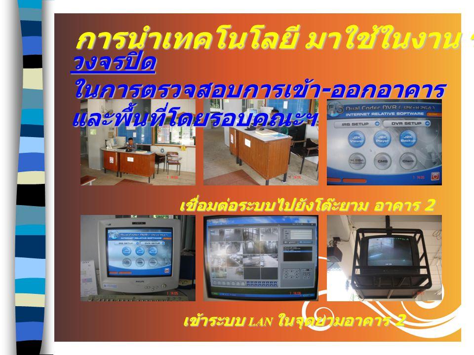 4 ระบบ LAN ในการตรวจสอบการใช้ห้องเรียน ห้องประชุม ในแต่ละวัน การนำเทคโนโลยี มาใช้ในงาน ร.