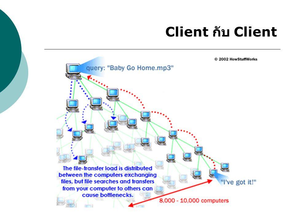 จุดเด่นที่ P2P เหนือกว่า client-server การกระจายตัวของข้อมูลที่กระจายอยู่ ในเครื่อง client ต่างๆ โดยไม่กระจุกตัวอยู่ที่ server เพียงเครื่องเดียว ทำให้ข้อมูลสามารถ แพร่กระจายตัวออกไปได้อย่างรวดเร็ว ซึ่ง มักจะมีปัญหาความเร็วในการถ่ายโอนข้อมูล ที่ลดลงเมื่อจำนวน client เพิ่มสูงขึ้น