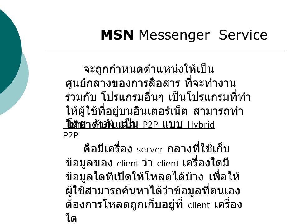 MSN Messenger Service จะถูกกำหนดตำแหน่งให้เป็น ศูนย์กลางของการสื่อสาร ที่จะทำงาน ร่วมกับ โปรแกรมอื่นๆ เป็นโปรแกรมที่ทำ ให้ผู้ใช้ที่อยู่บนอินเตอร์เน็ต สามารถทำ ให้หาตัวกันเจอ โดย MSN เป็น P2P แบบ Hybrid P2P คือมีเครื่อง server กลางที่ใช้เก็บ ข้อมูลของ client ว่า client เครื่องใดมี ข้อมูลใดที่เปิดให้โหลดได้บ้าง เพื่อให้ ผู้ใช้สามารถค้นหาได้ว่าข้อมูลที่ตนเอง ต้องการโหลดถูกเก็บอยู่ที่ client เครื่อง ใด
