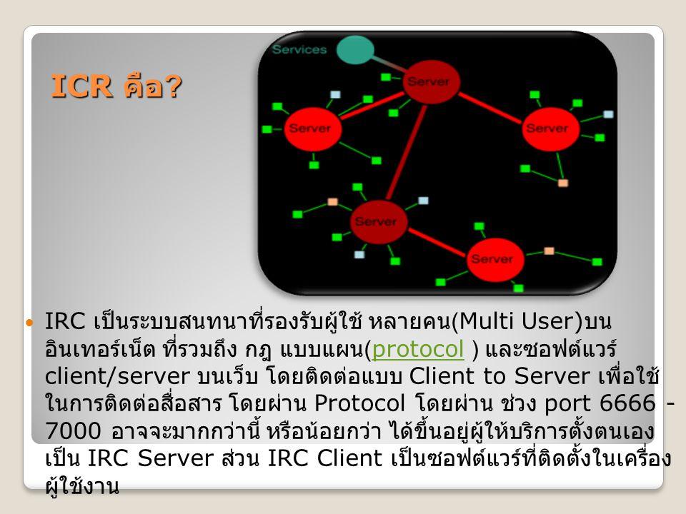 ICR คือ ? IRC เป็นระบบสนทนาที่รองรับผู้ใช้ หลายคน (Multi User) บน อินเทอร์เน็ต ที่รวมถึง กฎ แบบแผน (protocol ) และซอฟต์แวร์ client/server บนเว็บ โดยติ