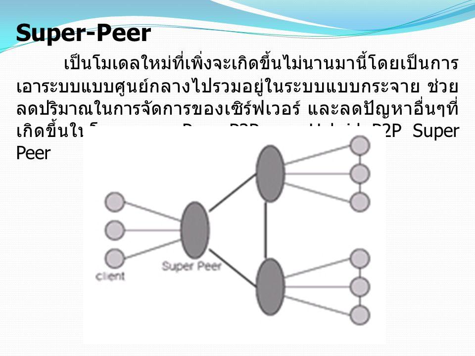 Super-Peer เป็นโมเดลใหม่ที่เพิ่งจะเกิดขึ้นไม่นานมานี้โดยเป็นการ เอาระบบแบบศูนย์กลางไปรวมอยู่ในระบบแบบกระจาย ช่วย ลดปริมาณในการจัดการของเซิร์ฟเวอร์ และ
