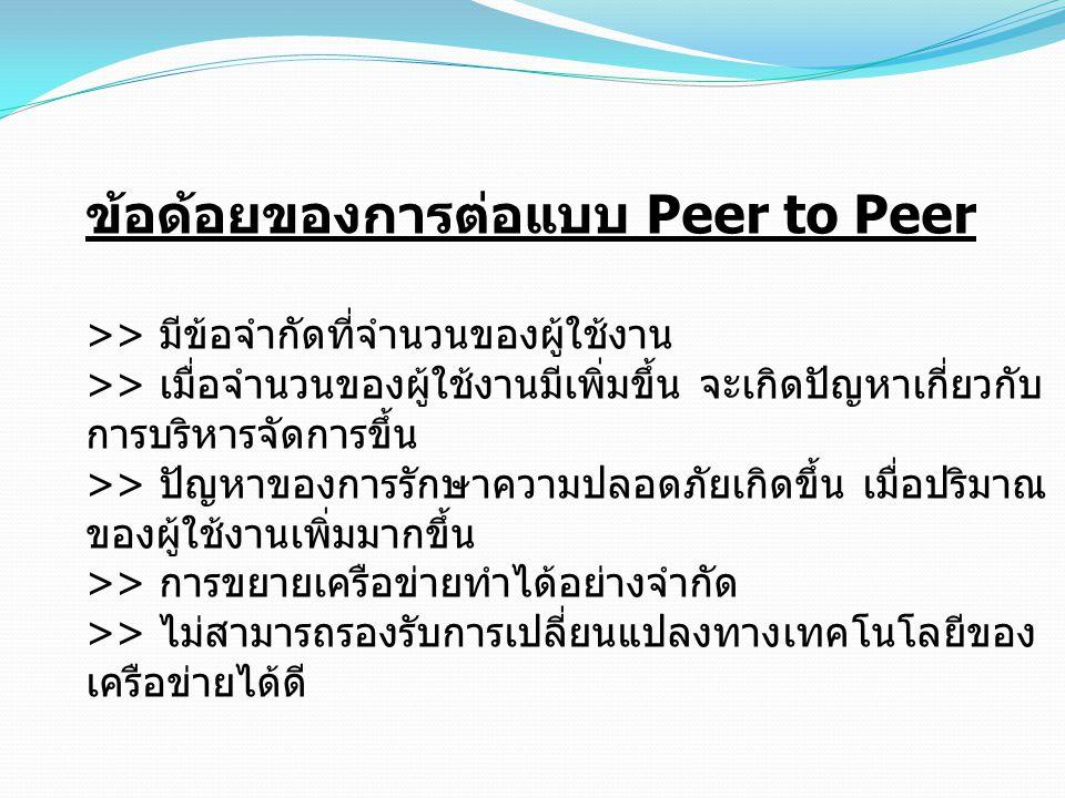 ข้อด้อยของการต่อแบบ Peer to Peer >> มีข้อจำกัดที่จำนวนของผู้ใช้งาน >> เมื่อจำนวนของผู้ใช้งานมีเพิ่มขึ้น จะเกิดปัญหาเกี่ยวกับ การบริหารจัดการขึ้น >> ปั
