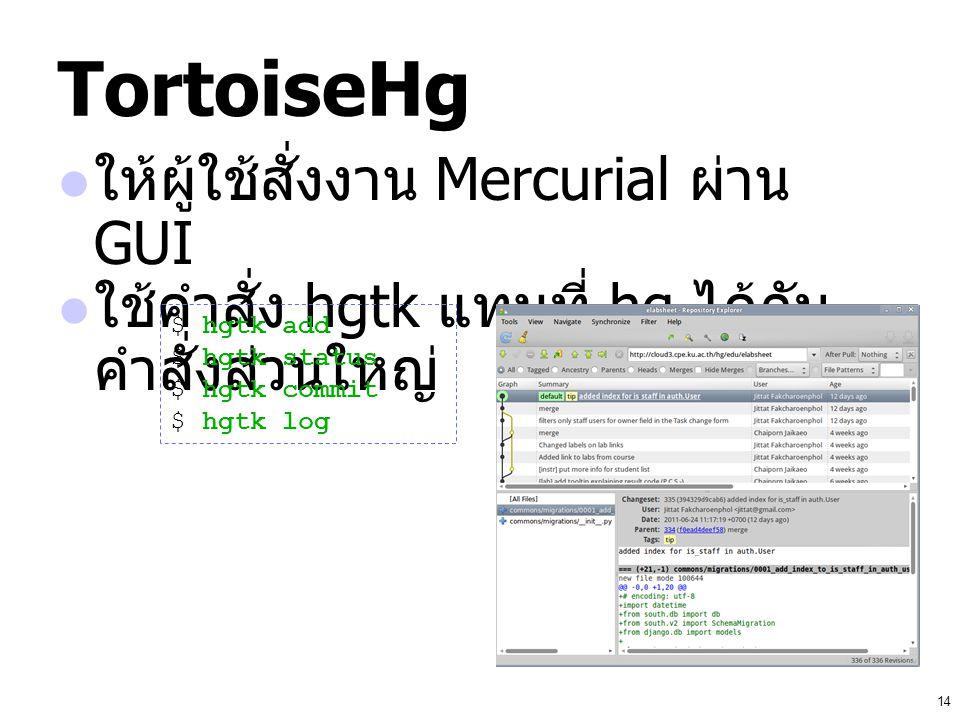 14 TortoiseHg ให้ผู้ใช้สั่งงาน Mercurial ผ่าน GUI ใช้คำสั่ง hgtk แทนที่ hg ได้กับ คำสั่งส่วนใหญ่ $ hgtk add $ hgtk status $ hgtk commit $ hgtk log