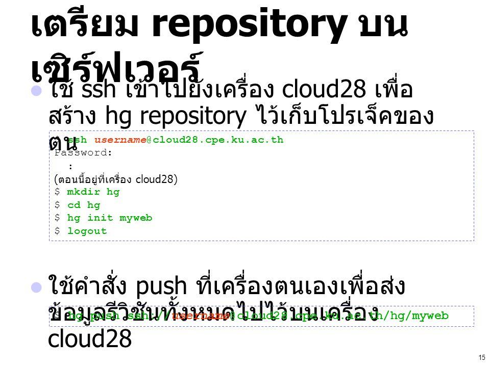 15 เตรียม repository บน เซิร์ฟเวอร์ ใช้ ssh เข้าไปยังเครื่อง cloud28 เพื่อ สร้าง hg repository ไว้เก็บโปรเจ็คของ ตน ใช้คำสั่ง push ที่เครื่องตนเองเพื่