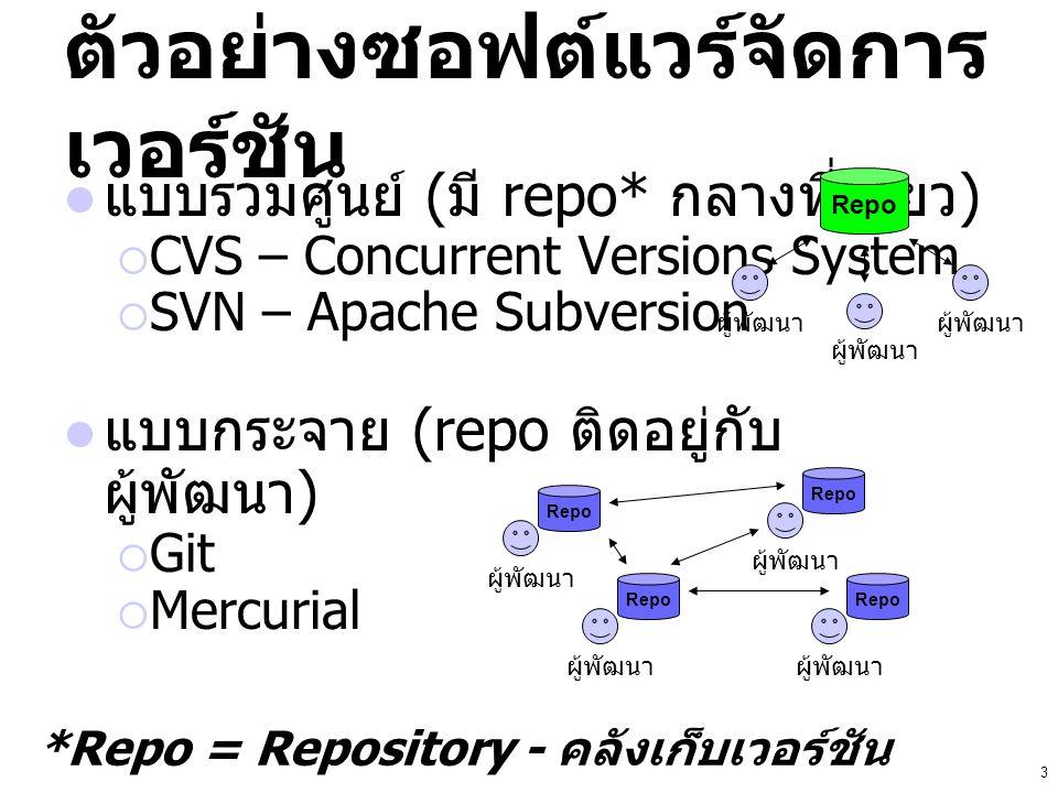 3 ตัวอย่างซอฟต์แวร์จัดการ เวอร์ชัน แบบรวมศูนย์ ( มี repo* กลางที่เดียว )  CVS – Concurrent Versions System  SVN – Apache Subversion แบบกระจาย (repo