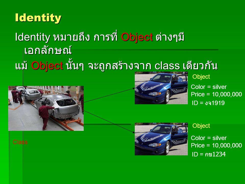 Identity Identity หมายถึง การที่ Object ต่างๆมี เอกลักษณ์ แม้ Object นั้นๆ จะถูกสร้างจาก class เดียวกัน Class Object Color = silver Price = 10,000,000