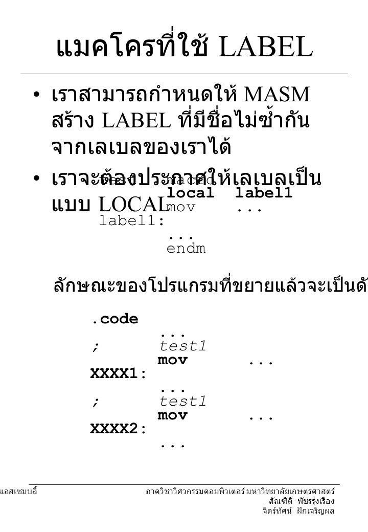 204221 องค์ประกอบคอมพิวเตอร์และภาษาแอสเซมบลี้ ภาควิชาวิศวกรรมคอมพิวเตอร์ มหาวิทยาลัยเกษตรศาสตร์ สัณฑิติ พัชรรุ่งเรือง จิตร์ทัศน์ ฝักเจริญผล แมคโครกับโปรแกรมย่อย ข้อแตกต่าง – คำสั่งในแมคโครจะถูกนำไปแทนที่ ในตำแหน่งที่มีการเรียกใช้.