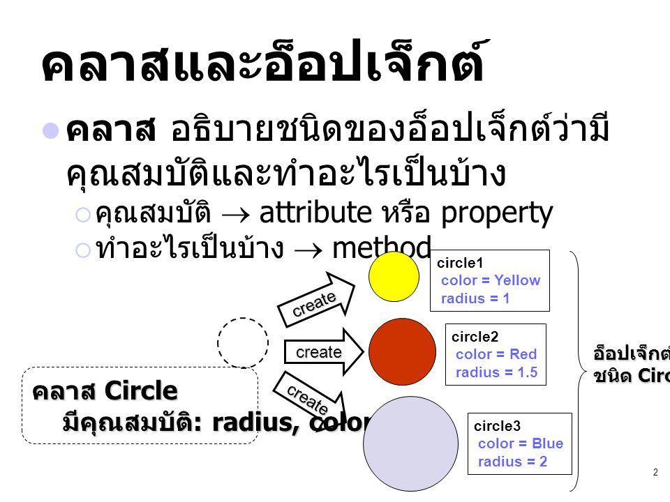 2 คลาสและอ็อปเจ็กต์ คลาส อธิบายชนิดของอ็อปเจ็กต์ว่ามี คุณสมบัติและทำอะไรเป็นบ้าง  คุณสมบัติ  attribute หรือ property  ทำอะไรเป็นบ้าง  method คลาส