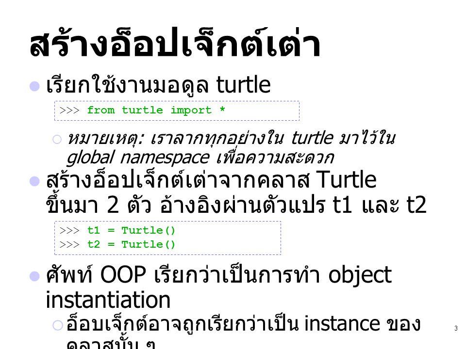 3 สร้างอ็อปเจ็กต์เต่า เรียกใช้งานมอดูล turtle  หมายเหตุ : เราลากทุกอย่างใน turtle มาไว้ใน global namespace เพื่อความสะดวก สร้างอ็อปเจ็กต์เต่าจากคลาส