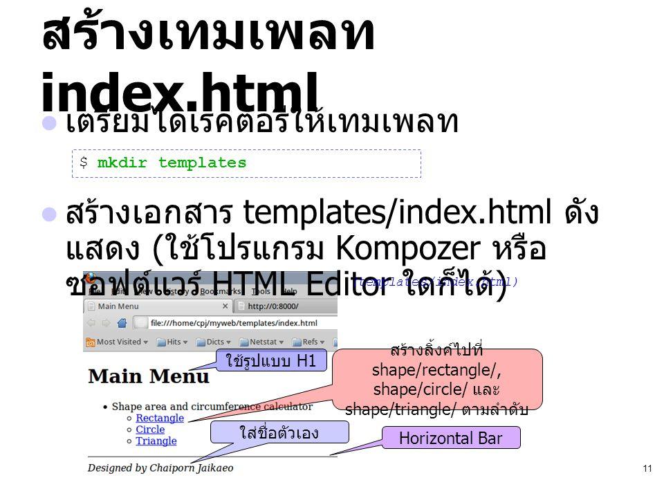 11 สร้างเทมเพลท index.html เตรียมไดเรคตอรีให้เทมเพลท สร้างเอกสาร templates/index.html ดัง แสดง ( ใช้โปรแกรม Kompozer หรือ ซอฟต์แวร์ HTML Editor ใดก็ได