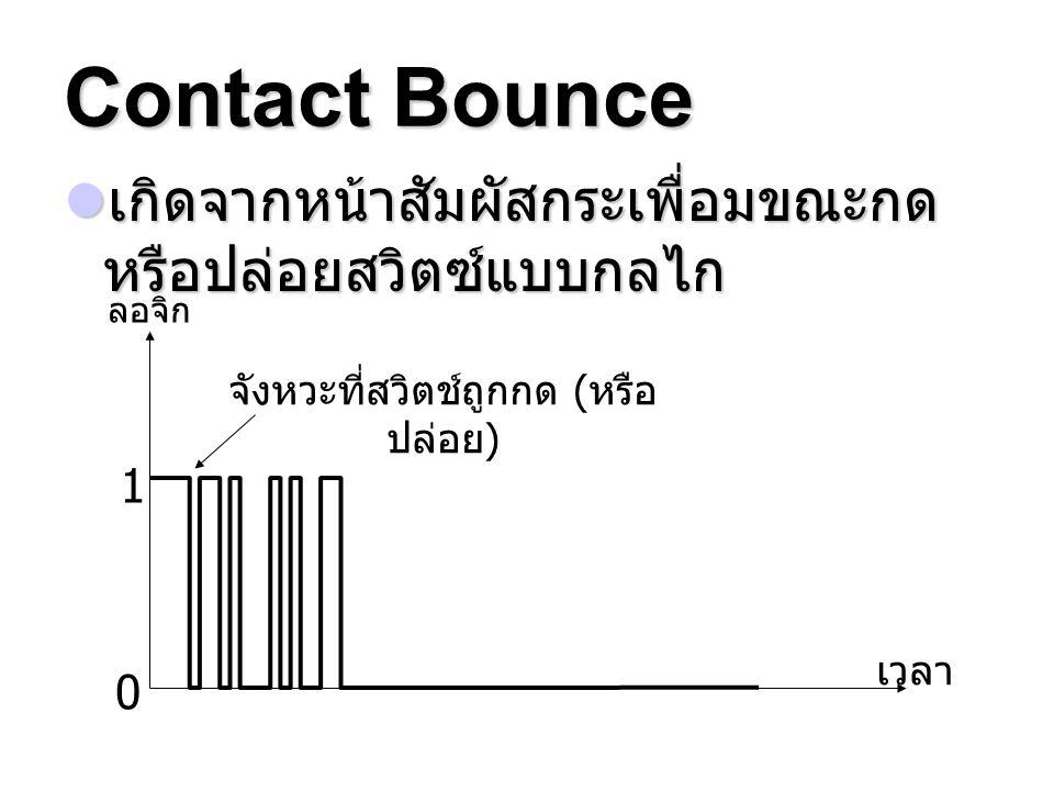 Contact Bounce เกิดจากหน้าสัมผัสกระเพื่อมขณะกด หรือปล่อยสวิตซ์แบบกลไก เกิดจากหน้าสัมผัสกระเพื่อมขณะกด หรือปล่อยสวิตซ์แบบกลไก ลอจิก เวลา 1 0 จังหวะที่ส