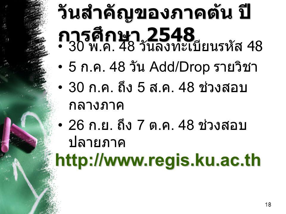 18 วันสำคัญของภาคต้น ปี การศึกษา 2548 30 พ.ค. 48 วันลงทะเบียนรหัส 48 5 ก.
