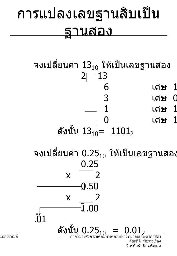 204221 องค์ประกอบคอมพิวเตอร์และภาษาแอสเซมบลี้ ภาควิชาวิศวกรรมคอมพิวเตอร์ มหาวิทยาลัยเกษตรศาสตร์ สัณฑิติ พัชรรุ่งเรือง จิตร์ทัศน์ ฝักเจริญผล การแปลงเลขฐานสิบเป็น ฐานสอง จงเปลี่ยนค่า 13 10 ให้เป็นเลขฐานสอง 2 13 6 เศษ 1 3 เศษ 0 1 เศษ 1 0 เศษ 1 ดังนั้น 13 10 = 1101 2 จงเปลี่ยนค่า 0.25 10 ให้เป็นเลขฐานสอง 0.25 x 2 0.50 x 2 1.00.01 ดังนั้น 0.25 10 = 0.01 2