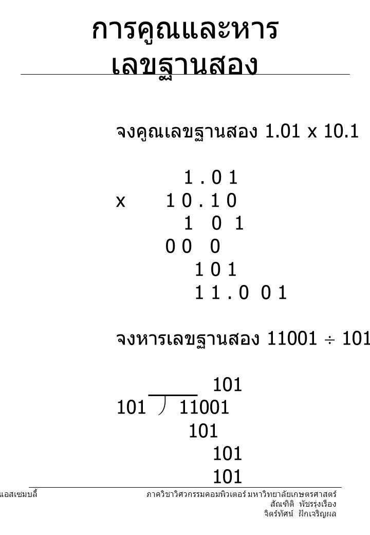204221 องค์ประกอบคอมพิวเตอร์และภาษาแอสเซมบลี้ ภาควิชาวิศวกรรมคอมพิวเตอร์ มหาวิทยาลัยเกษตรศาสตร์ สัณฑิติ พัชรรุ่งเรือง จิตร์ทัศน์ ฝักเจริญผล การคูณและหาร เลขฐานสอง จงคูณเลขฐานสอง 1.01 x 10.1 1.