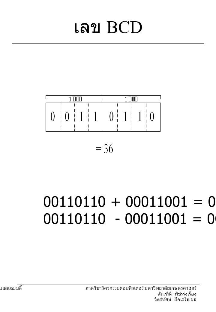 204221 องค์ประกอบคอมพิวเตอร์และภาษาแอสเซมบลี้ ภาควิชาวิศวกรรมคอมพิวเตอร์ มหาวิทยาลัยเกษตรศาสตร์ สัณฑิติ พัชรรุ่งเรือง จิตร์ทัศน์ ฝักเจริญผล เลข BCD 00110110 + 00011001 = 01010101 00110110 - 00011001 = 00010111