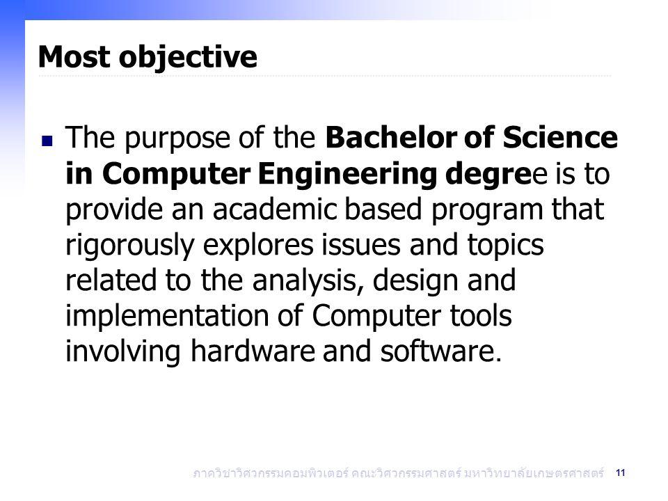 11 ภาควิชาวิศวกรรมคอมพิวเตอร์ คณะวิศวกรรมศาสตร์ มหาวิทยาลัยเกษตรศาสตร์ Most objective The purpose of the Bachelor of Science in Computer Engineering d