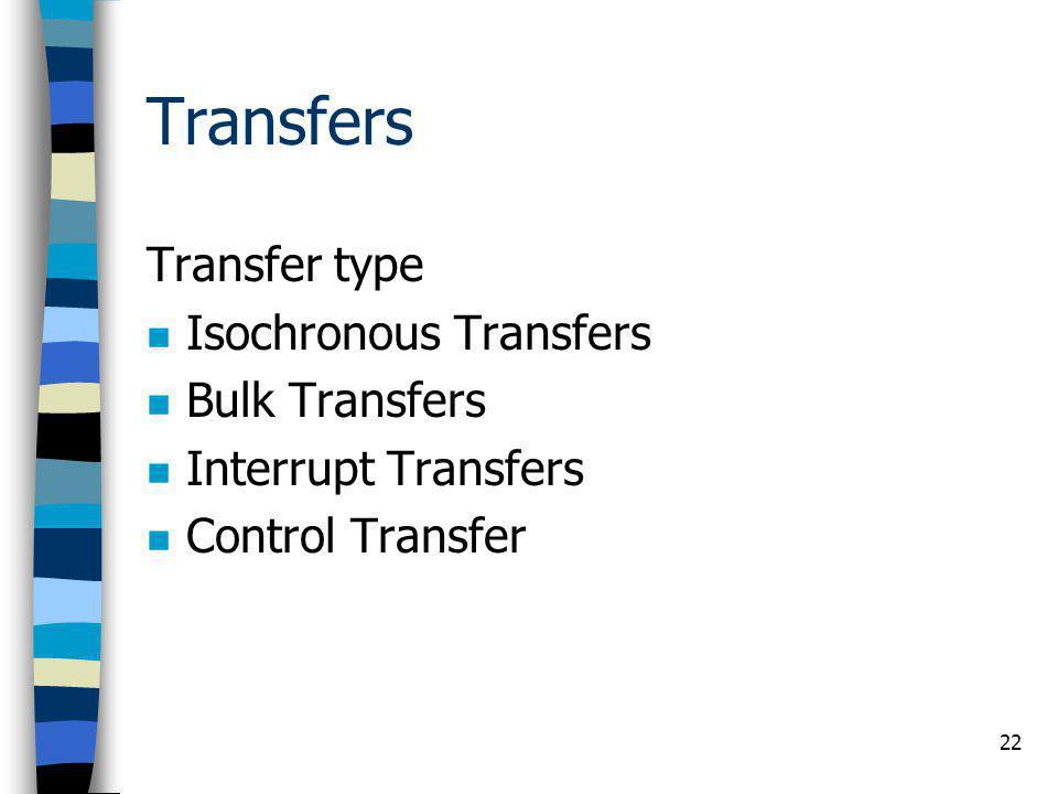 22 Transfers Transfer type Isochronous Transfers Bulk Transfers Interrupt Transfers Control Transfer