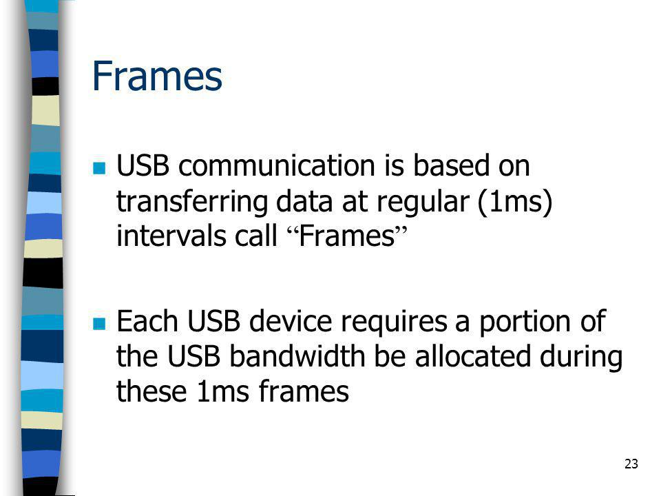 "23 Frames USB communication is based on transferring data at regular (1ms) intervals call "" Frames "" Each USB device requires a portion of the USB ban"