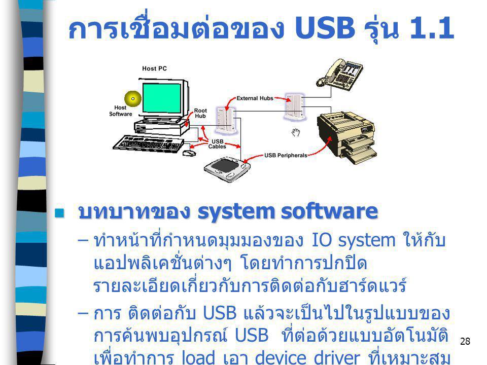 28 การเชื่อมต่อของ USB รุ่น 1.1 บทบาทของ system software บทบาทของ system software – ทำหน้าที่กำหนดมุมมองของ IO system ให้กับ แอปพลิเคชั่นต่างๆ โดยทำการปกปิด รายละเอียดเกี่ยวกับการติดต่อกับฮาร์ดแวร์ – การ ติดต่อกับ USB แล้วจะเป็นไปในรูปแบบของ การค้นพบอุปกรณ์ USB ที่ต่อด้วยแบบอัตโนมัติ เพื่อทำการ load เอา device driver ที่เหมาะสม มาใช้