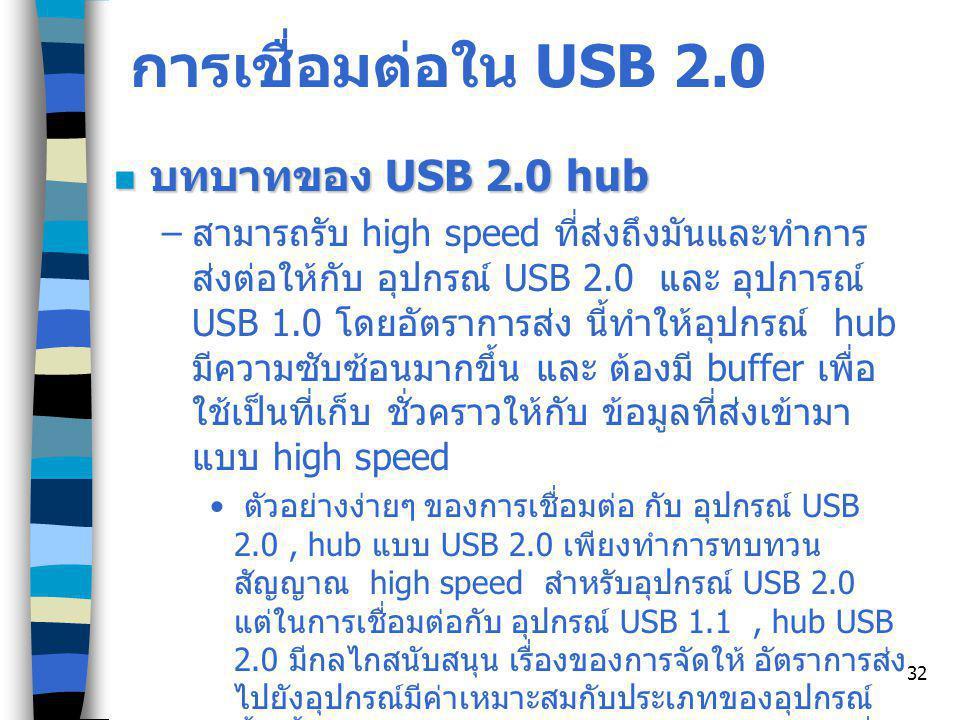 32 การเชื่อมต่อใน USB 2.0 บทบาทของ USB 2.0 hub บทบาทของ USB 2.0 hub – สามารถรับ high speed ที่ส่งถึงมันและทำการ ส่งต่อให้กับ อุปกรณ์ USB 2.0 และ อุปการณ์ USB 1.0 โดยอัตราการส่ง นี้ทำให้อุปกรณ์ hub มีความซับซ้อนมากขึ้น และ ต้องมี buffer เพื่อ ใช้เป็นที่เก็บ ชั่วคราวให้กับ ข้อมูลที่ส่งเข้ามา แบบ high speed ตัวอย่างง่ายๆ ของการเชื่อมต่อ กับ อุปกรณ์ USB 2.0, hub แบบ USB 2.0 เพียงทำการทบทวน สัญญาณ high speed สำหรับอุปกรณ์ USB 2.0 แต่ในการเชื่อมต่อกับ อุปกรณ์ USB 1.1, hub USB 2.0 มีกลไกสนับสนุน เรื่องของการจัดให้ อัตราการส่ง ไปยังอุปกรณ์มีค่าเหมาะสมกับประเภทของอุปกรณ์ นั้น นั้นหมายความว่า hub จัดการกับแปลงข้อมูลที่ รับมาจาก host ในอัตรา high speed ให้เหลือเป็น low speed แล้วทำการส่งต่อให้อุปกรณ์สำหรับ อุปกรณ์ ที่เป็น USB 1.1