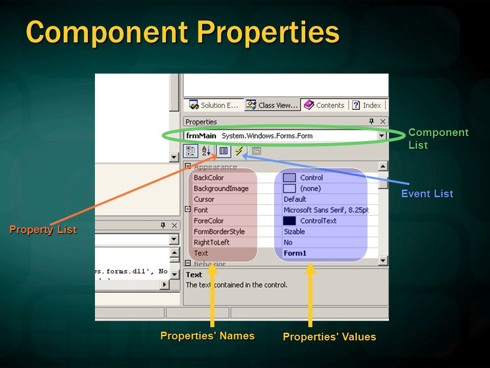 Accessing Properties Obtaining Values Obtaining Values Modifying Values Modifying Values  Via properties window  Using C# statements Some properties are read-only.