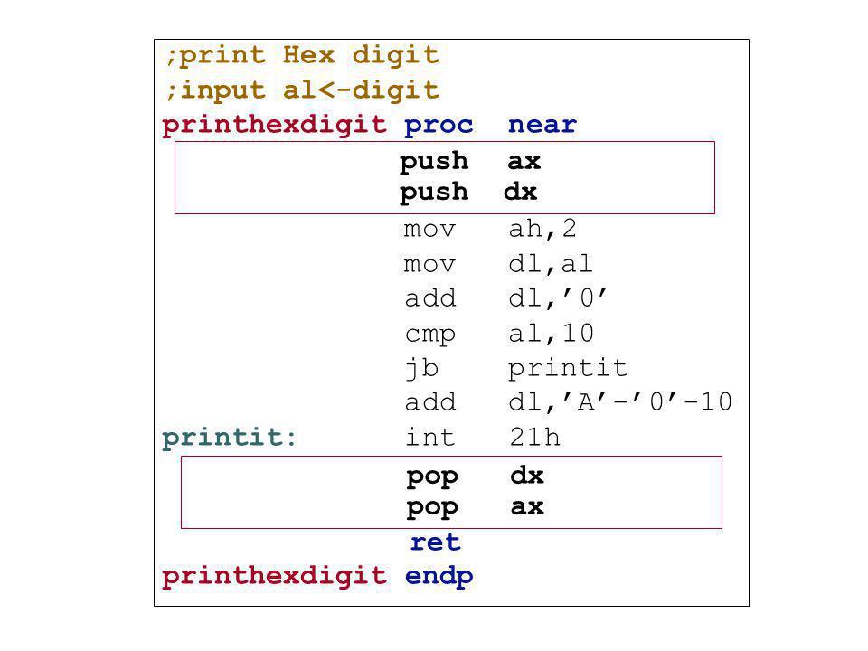 ;print Hex digit ;input al<-digit printhexdigit proc near mov ah,2 mov dl,al add dl,'0' cmp al,10 jb printit add dl,'A'-'0'-10 printit: int 21h ret pr